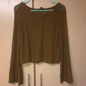 Dark Yellow Bell-Sleeved Knit Sweater